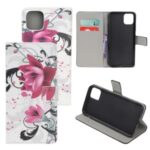 Pattern Printing Leather Wallet Case for iPhone 12 5.4 inch – Purple Flowers