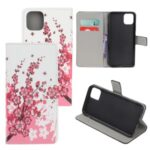 Pattern Printing Leather Wallet Case for iPhone 12 5.4 inch – Plum Blossom