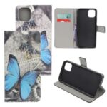 Pattern Printing Leather Wallet Case for iPhone 12 5.4 inch – Blue Butterfly