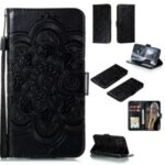 Imprint Mandala Flower Leather with Lanyard Shell for Samsung Galaxy A31 – Black