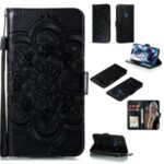Imprint Mandala Flower Leather Shell for Samsung Galaxy A21s – Black