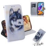 Pattern Printing Light Spot Decor PU Leather Wallet Case for Samsung Galaxy A21s – Wolf