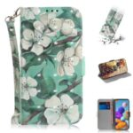 Light Spot Decor Pattern Printing Wallet Stand Leather Case with Strap for Samsung Galaxy A21s – Vivid Flower