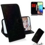 Flower Pattern Leather Wallet Stand Protection Cover for Samsung Galaxy A71 5G SM-A716 – Black