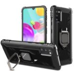 Finger Ring TPU Phone Cover Case with Magnetic Sheet for Samsung Galaxy A41 (European Version) – Black