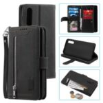 Zipper Pocket 9 Card Slots Leather Wallet Case for Samsung Galaxy A50 – Black