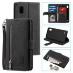 Zipper Pocket 9 Card Slots Leather Wallet Cover for Samsung Galaxy A10 – Black