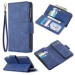 BF02 Silky Touch Skin 9 Card Slots Leather Stand Phone Case with Zipper Pocket for Samsung Galaxy S10 – Blue