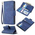 BF02 Silky Touch Skin 9 Card Slots Leather Stand Protective Case with Zipper Pocket for Samsung Galaxy A70 – Blue