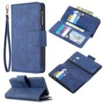 BF02 Silky Touch Skin 9 Card Slots Leather Stand Cover Case with Zipper Pocket for Samsung Galaxy A40 – Blue