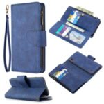 BF02 Silky Touch Skin 9 Card Slots Leather Stand Phone Case with Zipper Pocket for Samsung Galaxy M10 / A10 – Blue