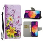 Pattern Printing Cover Flip Leather Wallet Stand Protective Shell for Samsung Galaxy A41 (Global Version) – Yellow Flower