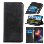 Auto-absorbed Split Leather Wallet Case for Samsung Galaxy M01 – Black