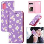 Daisy Pattern Cover Flash Powder Stand Leather Card Holder Shell for Samsung Galaxy A71 5G SM-A716 – Purple