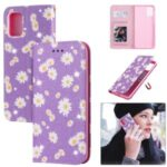 Daisy Pattern Flash Powder Case Stand Leather Card Holder Shell for Samsung Galaxy A71 SM-A715 – Purple