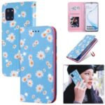 Daisy Pattern Flash Powder Leather Card Holder Case for Samsung Galaxy A81/Note 10 Lite/M60s – Blue