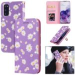 Daisy Skin Flash Powder Leather with Card Holder Case for Samsung Galaxy S20 – Purple