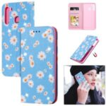 Daisy Style Cover Flash Powder Leather Case for Samsung Galaxy A21 – Blue