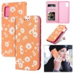 Daisy Pattern Flash Powder  Leather Cover for Samsung Galaxy A41 (Global Version) – Orange