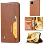 Auto-absorbed PU Leather Stand Wallet Phone Case for Samsung Galaxy A41 (European Version) – Brown