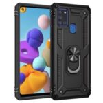 With Ring Kickstand Armor Case PC TPU Stylish Cover for Samsung Galaxy A21s – Black