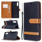 Color Splicing Jeans Cloth Skin Wallet Leather Phone Cover for Sony Xperia L4 – Black