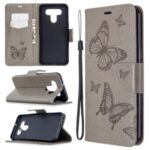 Imprint Butterflies Wallet Stand Flip Leather Phone Shell for LG K51 – Grey
