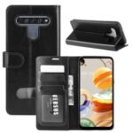 Crazy Horse Skin Stylish Leather Stand Case for LG K61 – Black