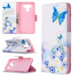 Pattern Printing Leather Wallet Case for LG K51 – Blue Butterfly and Flowers