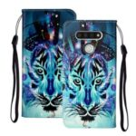 Embossed Patterned Wallet Leather Phone Shell with Strap for LG K51 – Tiger Face