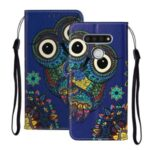 Embossed Patterned Wallet Leather Phone Shell with Strap for LG K51 – Owl