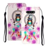 Embossed Patterned Wallet Leather Phone Shell with Strap for LG K51 – Dream Catcher