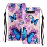 Embossed Patterned Wallet Leather Phone Shell with Strap for LG K51 – Blue Butterflies