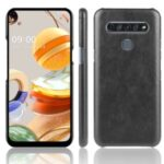 Litchi Grain PU Leather Coated Plastic Cover for LG K61 – Black