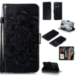 Imprint Surface Shell Mandala Flower Leather Cover for Huawei Y6p – Black