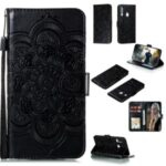 Imprint Mandala Flower Leather Cover for Huawei P40 lite E/Y7p/Honor 9C – Black
