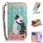 Light Spot Decor Pattern Printing Wallet Stand Stylish Leather Case for Huawei P40 Lite 5G – Two Cats
