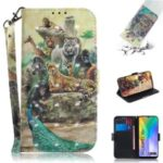 Light Spot Decor Pattern Printing Wallet Stand Stylish Leather Cover Case for Huawei Y6p – Animal World