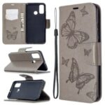 Imprint Butterfly Wallet Leather Shell for Huawei P smart 2020 – Grey