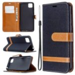 Color Splicing Jeans Cloth Skin Wallet Leather Phone Case for Huawei Y5p/Honor 9S – Black