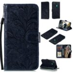 Imprint Lace Flower Leather Wallet Case for Huawei P smart 2020 – Black