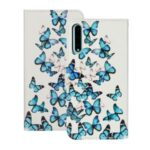 Pattern Printing Wallet Leather Protective Case for Huawei Y8p – Blue Butterflies