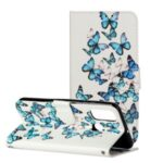 Pattern Printing Wallet Leather Phone Shell for Huawei P smart 2020 – Blue Butterflies