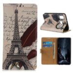 Patterned Protective Case Wallet Leather Stand Cover for Huawei Y8s – Tower and Letters