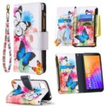 BF03 Pretty Pattern Printing Case Zipper Wallet Leather Cover for Huawei Y5p/Honor 9S – Vivid Butterfly