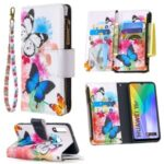 BF03 Pretty Pattern Printing Case Zipper Wallet Leather Phone Cover for Huawei Y6p – Vivid Butterfly