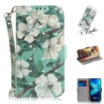 Pattern Printing Light Spot Decor PU Leather Wallet Case for Motorola Moto G8 Power Lite – Flower
