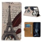 Protective Patterned Case Wallet Leather Stand Cover for Motorola Moto G Fast – Tower and Letters