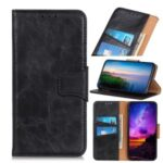 Crazy Horse Wallet Leather Stand Case Protective Shell for Motorola Moto One Fusion – Black