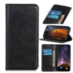 Auto-absorbed Crazy Horse Texture Split Leather Wallet Phone Cover for Xiaomi Redmi 9 – Black